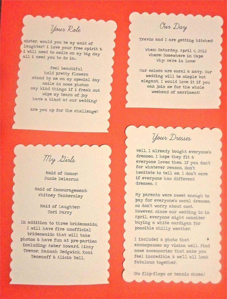 Wedding - Bridesmaids Information Cards