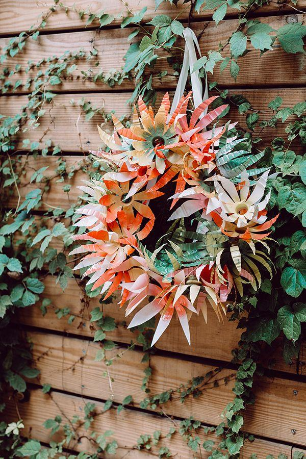 Wedding - DIY Plastic Bottle Flower Wreath