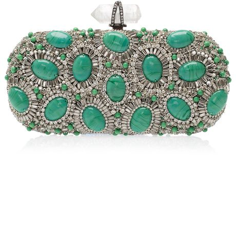 Wedding - Women's Green Crystal And Stone Clutch