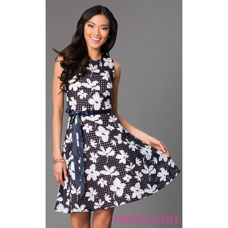 Hochzeit - Short Sleeveless Floral Print Dress - Brand Prom Dresses