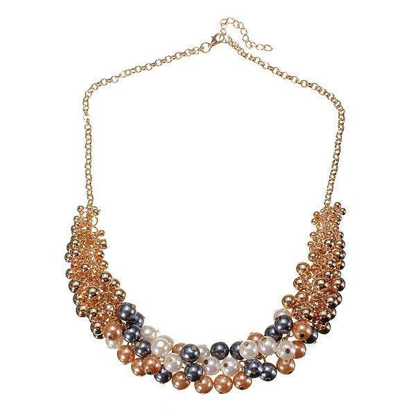 زفاف - Pearl Beads Bib Choker Statement Necklace