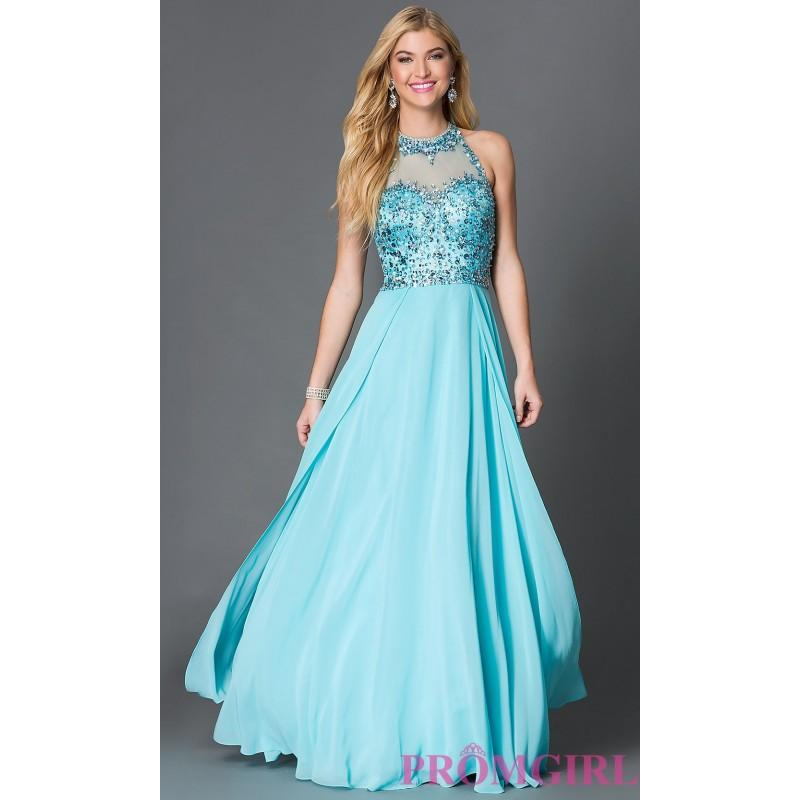 Wedding - Sleeveless Open Back Floor Length Prom Dress with Sequin Embellished Bodice - Brand Prom Dresses