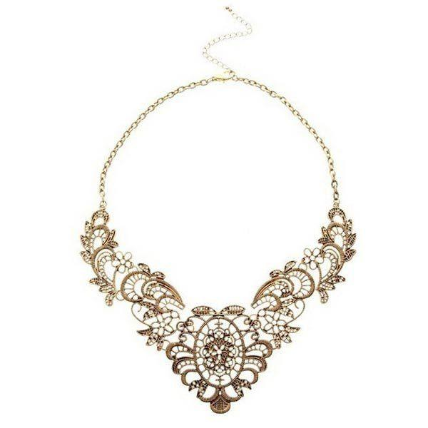 Hochzeit - Bronze Hollow Flower Choker Statement Necklace