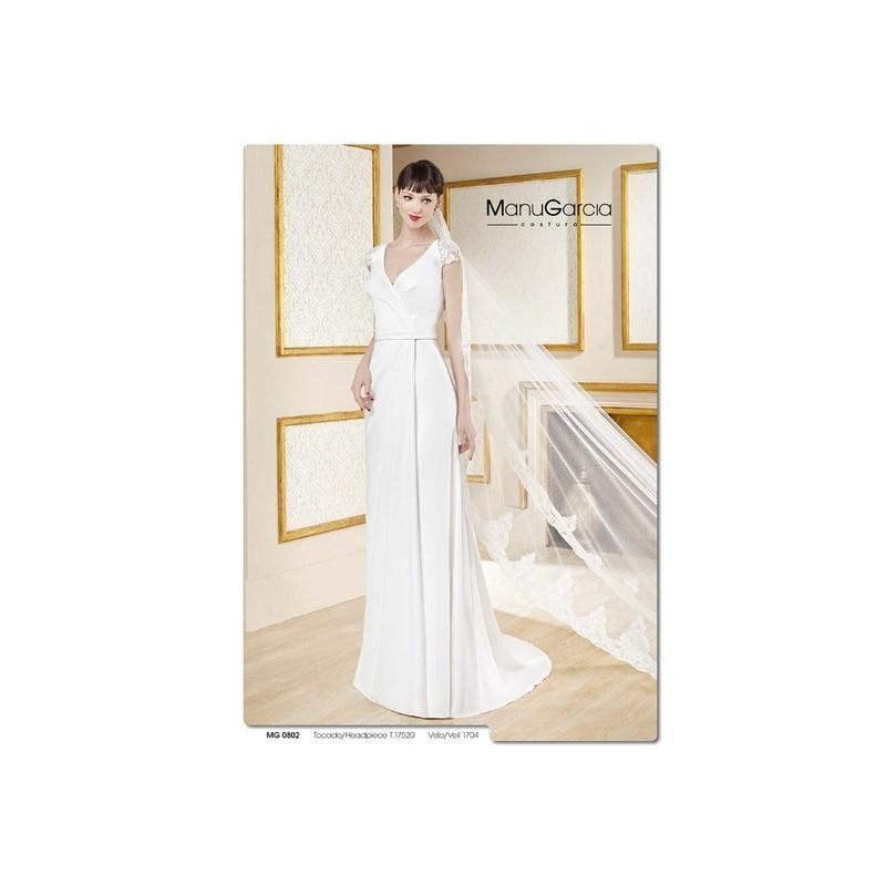 Wedding - Vestido de novia de Manu García Modelo MG0802 - 2017 Recta Pico Vestido - Tienda nupcial con estilo del cordón
