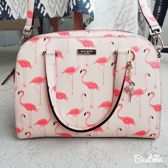 Wedding - Kate Spade Flamingo Printed Small Felix W/charm NWT