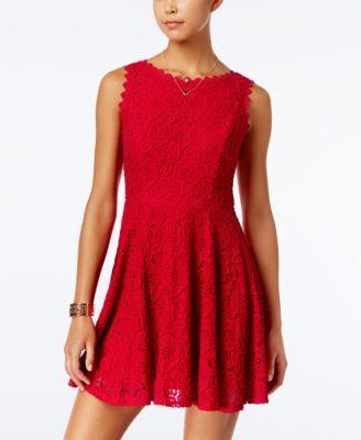 Mariage - City Studios Juniors' Lace Fit & Flare Dress
