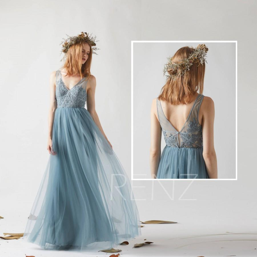 4ca231d74c Bridesmaid Dress Dusty Blue Tulle Wedding Dress,Illusion V Neck Maxi Dress,Open  Back Prom Dress,Lace Applique Long Evening Dress(LS360)