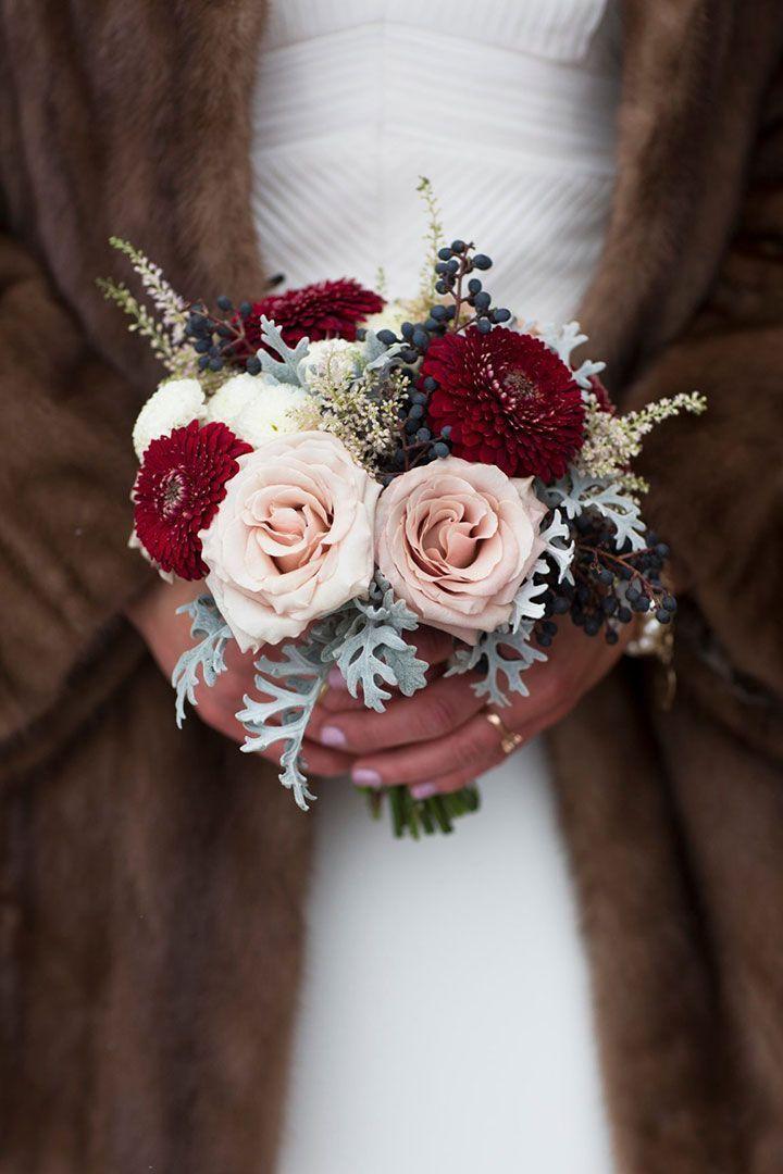 Свадьба - Winter Wedding Bouquets With Reds, Pinks & Burgundies