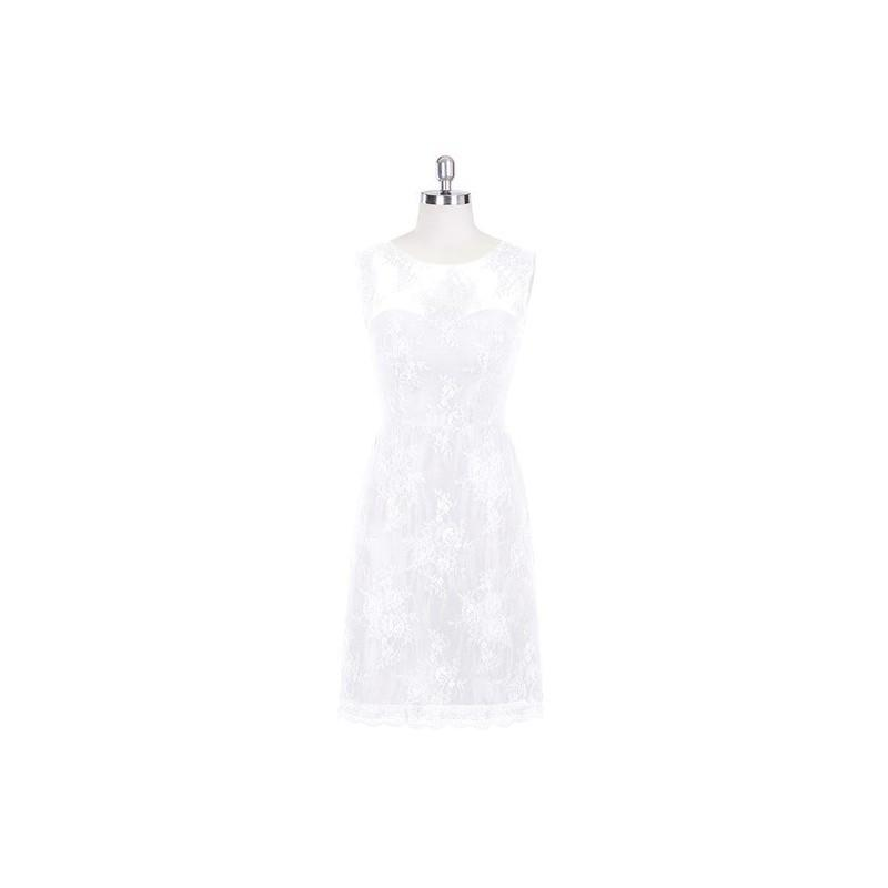 Свадьба - White Azazie Zaria - Knee Length Scoop Illusion Lace Dress - Cheap Gorgeous Bridesmaids Store