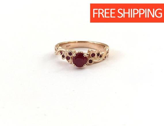 Свадьба - Ruby Engagement Ring, Rose Gold Engagement Ring, Leaves Ring, Art Deco Ring, 14k Gold Ring, Wedding Ring, Promise Ring, Leaf Ring