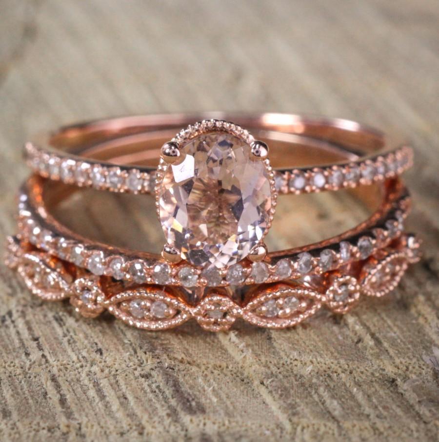 Свадьба - Sale 2 carat Antique Milgrain Oval Shape Morganite & Diamond Trio Ring Set in 10k Rose Gold with One Halo Engagement Ring 2 Wedding Bands