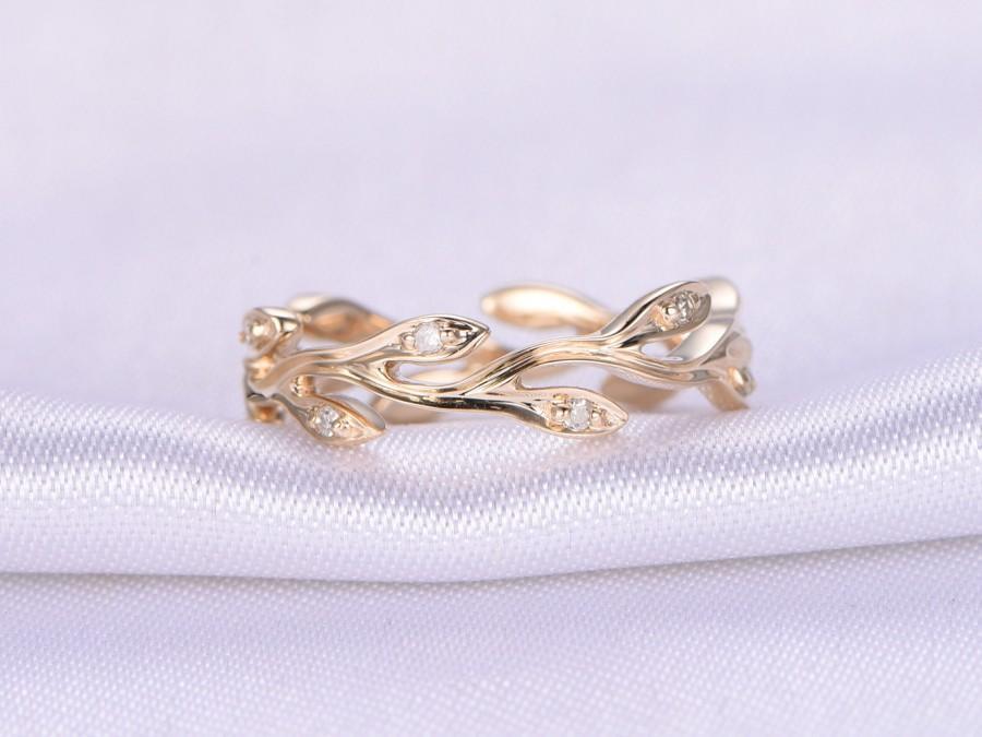 Свадьба - Full Eternity diamond Wedding ring, Leafy Wedding Band,Floral Anniversary ring,14k Yellow gold,Infinity Ring,Matching Band,Art Nouveau