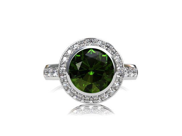 Свадьба - Peridot ring, diamond, engagement ring, halo, green engagement, peridot, diamond ring, halo engagement, bezel, rose gold ring, custom