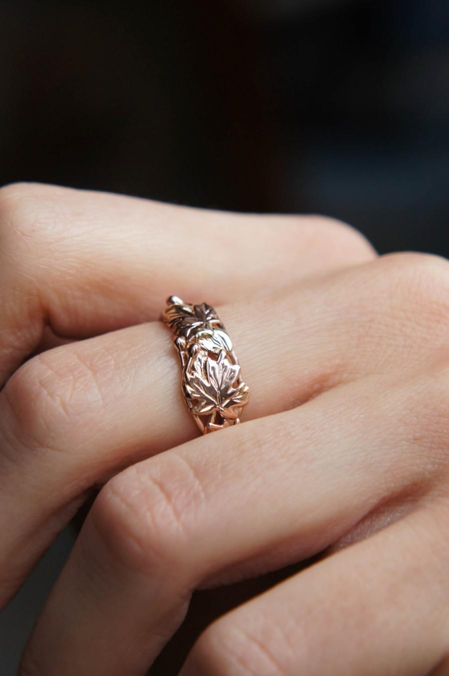 Свадьба - Gold leaves ring, rose gold ring, maple ring, leaf ring, gold branch ring, three gold tone ring, unique engagement ring, unique wedding ring