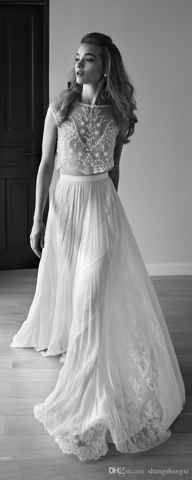 Cheap 2017 Lihi Hod Wedding Dresses Two Pieces Sweetheart Sleeveless ...