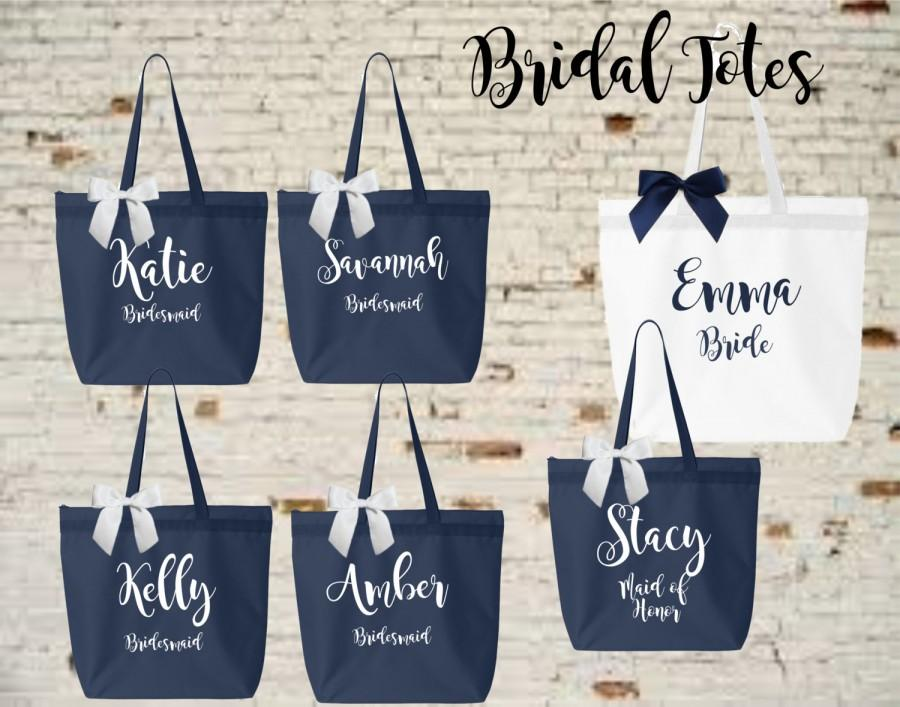 Mariage - bridesmaid tote, personalized bridesmaid gift, bridesmaid gift, personalized tote, monogrammed tote, bridal party bags