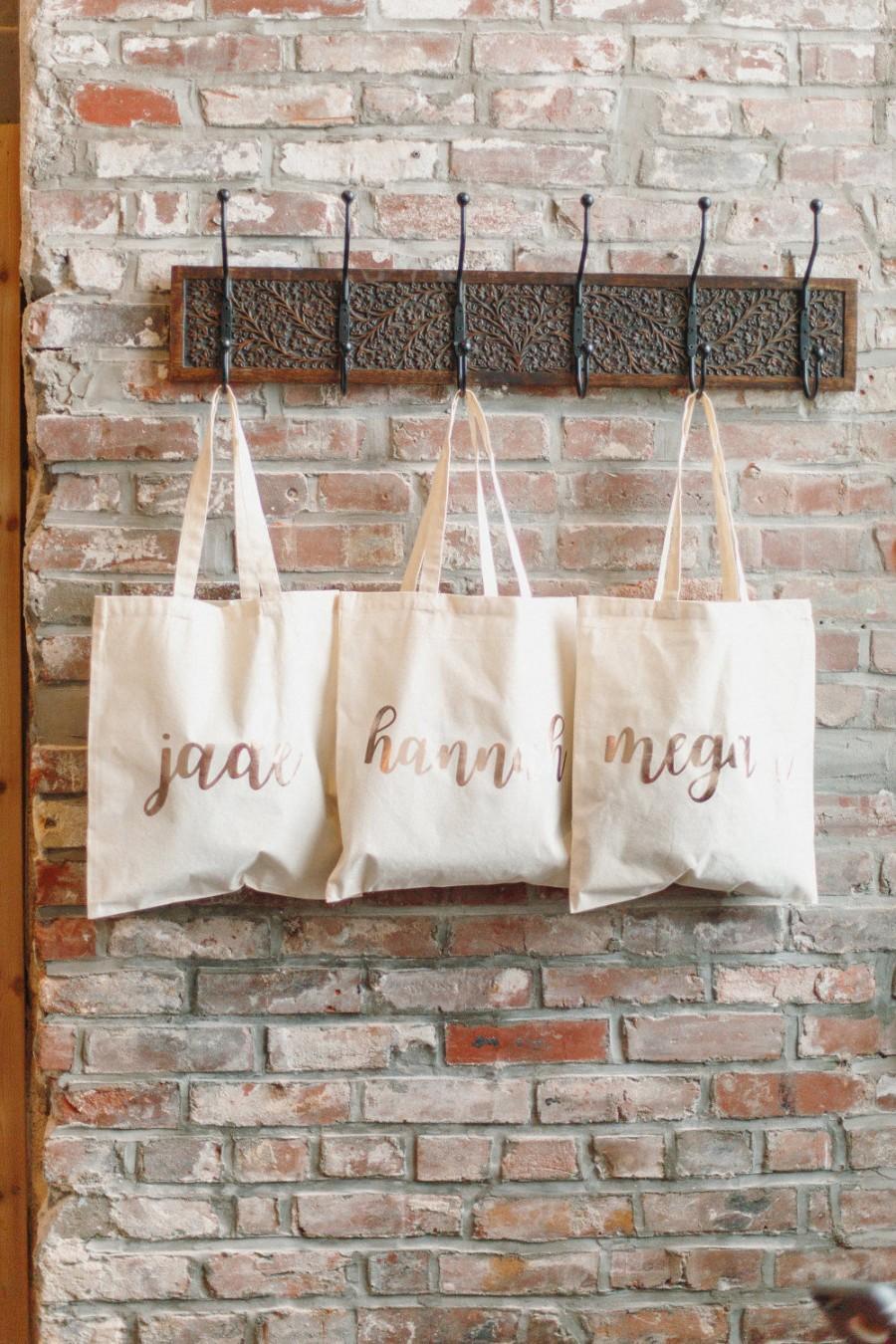 Mariage - 6 Bridesmaid Bags, Bridesmaid Bags, Rose Gold Bags, Bridesmaid Gifts, Wedding Party Favors, Bridesmaid Proposal, Bridesmaid, Weddings