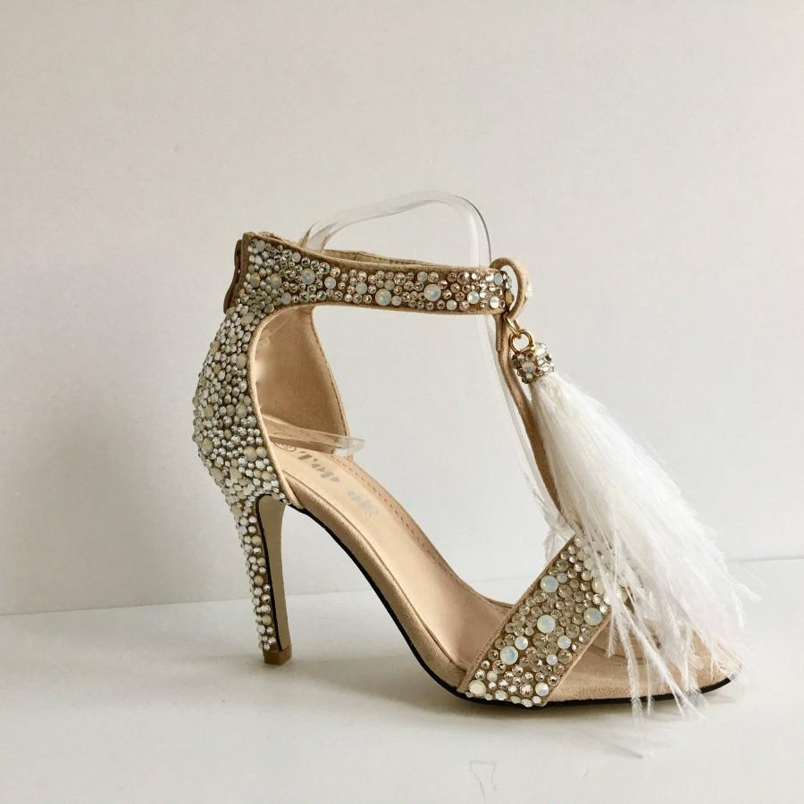 Bridal Shoes   Wedding Shoes   Nude Suede Heels with Swarovski Crystals and  Feather Tassels cd205343f7da