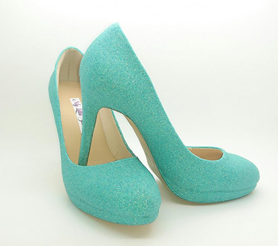 Hochzeit - Wedding Shoes ~ Blue Glitter high heels ~ Bridesmaid, Maid of Honour, Graduation, Sweet 16, 18th, 21st, Birthday, New Year, Elegant