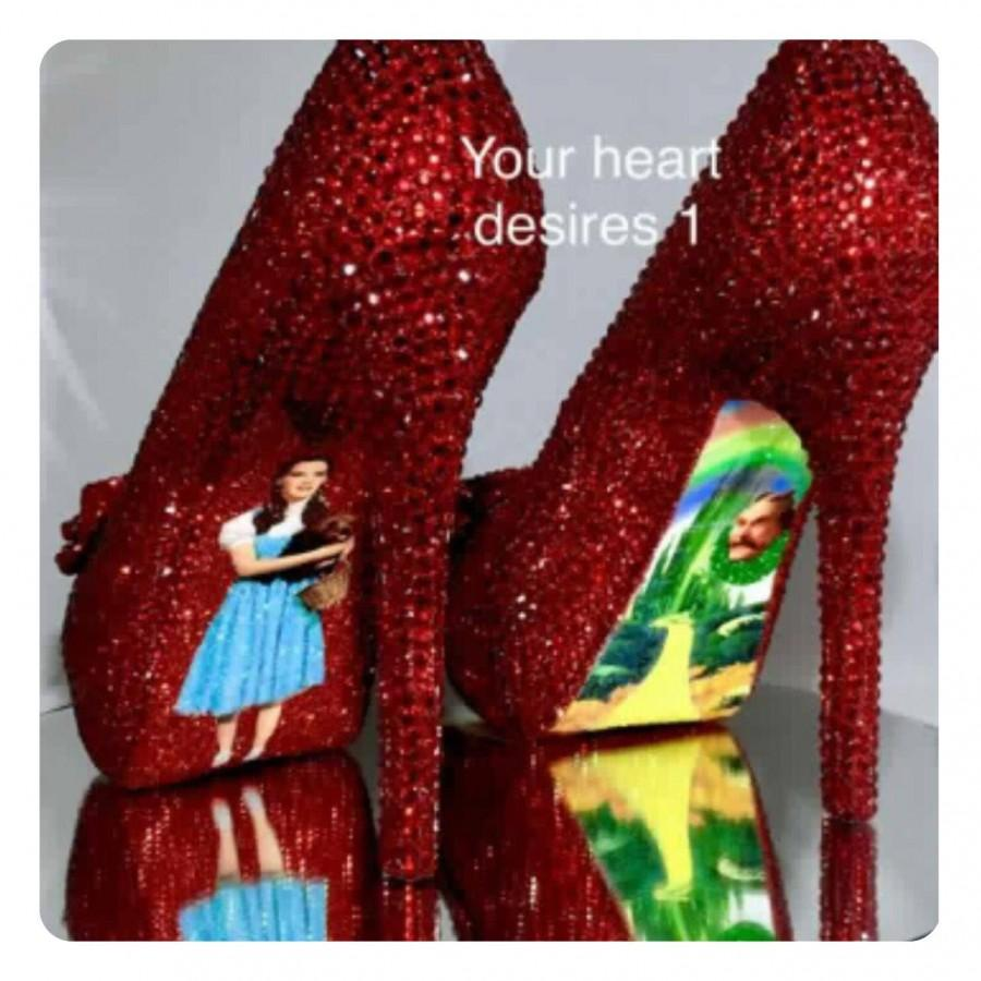 Hochzeit - wizard of oz Dorothy ruby red crystal bride wedding shoes prom shoes