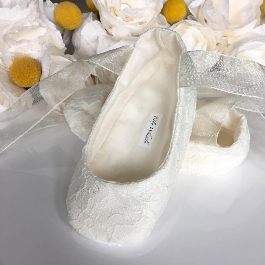 Ivory or White Lace Ballet Slippers - Flower Girl Shoes - Baby and Toddler  Girl - Christening - Baptism - Princess Shoes 3c8024ad2e01