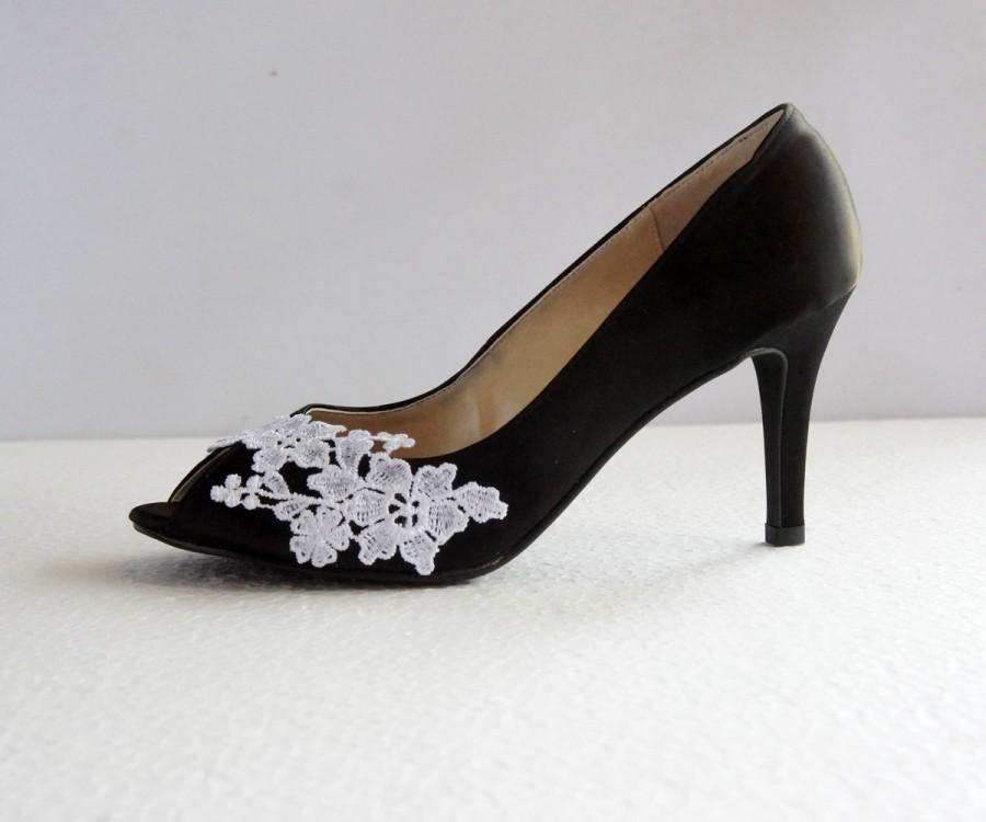 5a14fbcac99f Black Satin White Lace Wedding Shoes