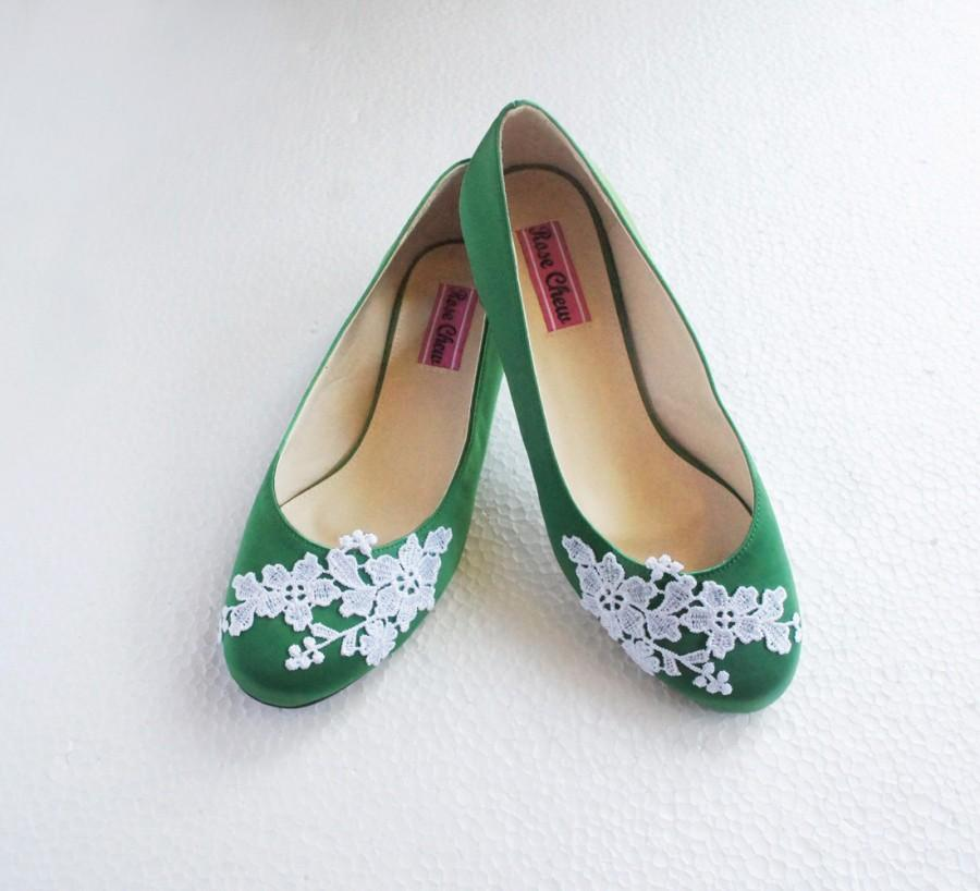 Rustic Chic Wedding Shoes: White Lace Green Satin Wedding Shoes Floral Embroidered