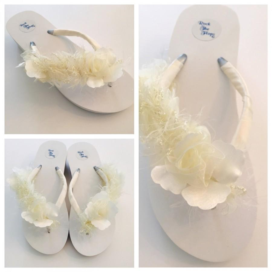 1a6515b1cfafe WHITE Or Ivory! Wedding Flip Flops/Wedges/Sandals For Bride.Bridal ...