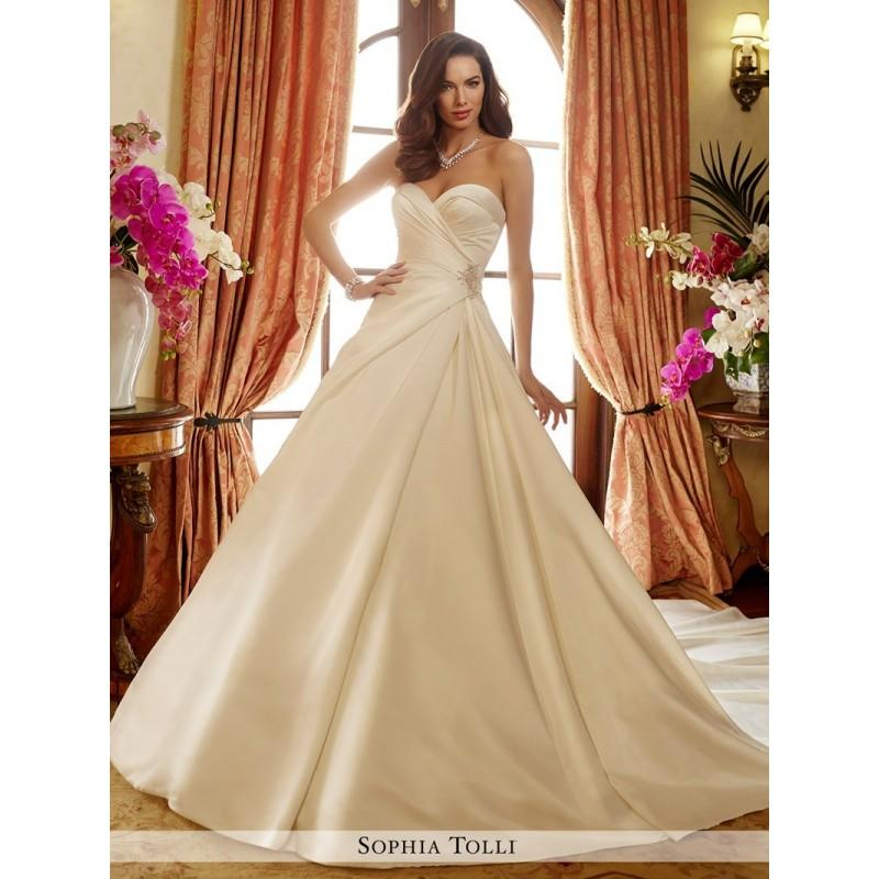Wedding - Sophia Tolli Y11721 Desiree Wedding Dress - Sophia Tolli Long Ball Gown Halter, Spaghetti Strap, Sweetheart Wedding Dress - 2017 New Wedding Dresses