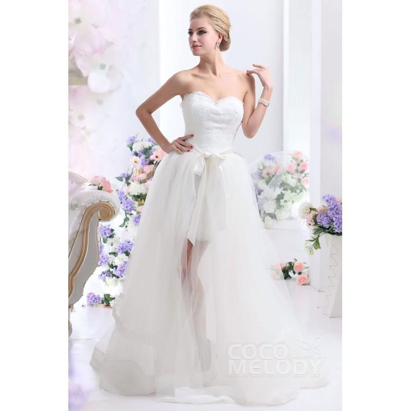 Wedding - Simple Asymmetrical Sweetheart High-Low Tulle Wedding Dress with Removable Skirt CWLF13020 - Top Designer Wedding Online-Shop