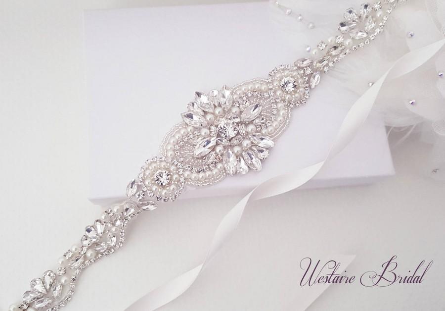 Свадьба - Wedding Belt, Beaded Bridal Sash, Crystal Wedding Belt, Bridal, Bridesmaid, Flower Girl Sash - Style 787