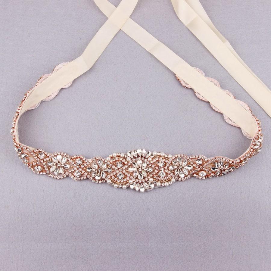 Bridal Sash Belt Rose Gold Wedding Belt Bridesmaid Belt Wedding ...