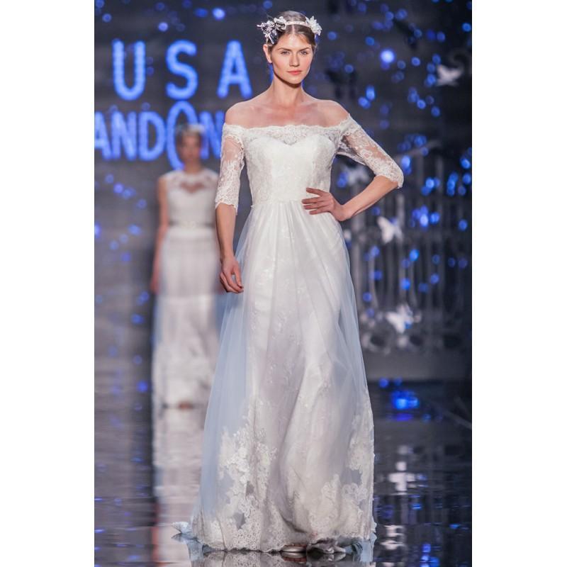 Свадьба - Lusan Mandongus 2017 Zeta Ivory Lace Chapel Train Appliques Sweet Seath Off-the-shoulder 1/2 Sleeves Wedding Gown - Charming Wedding Party Dresses