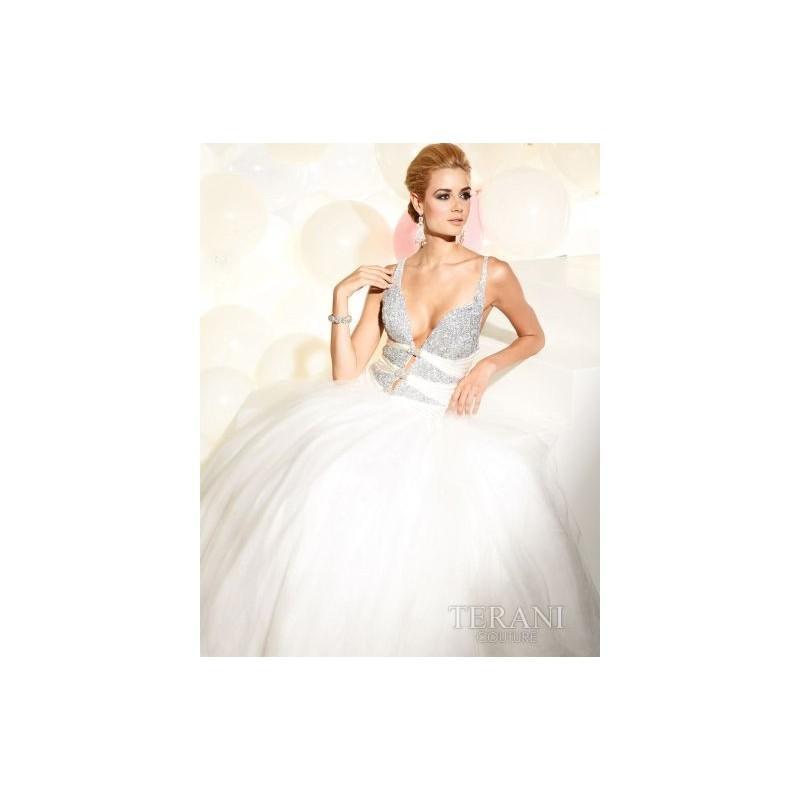 Mariage - Terani Plunging V Neck Beaded Prom Dress P730 - Brand Prom Dresses