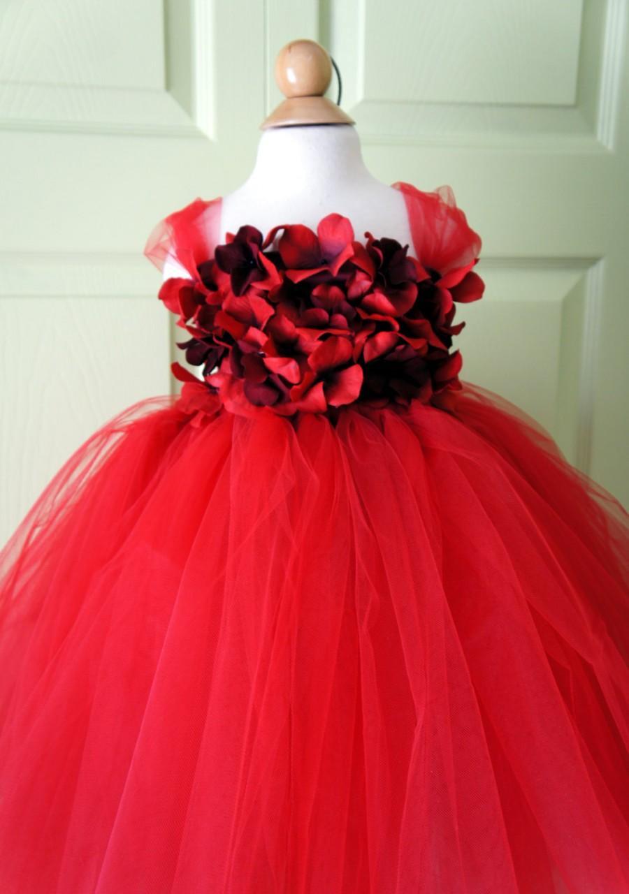 Wedding - Flower girl dress Red tutu dress, flower top, hydrangea top, toddler tutu dress