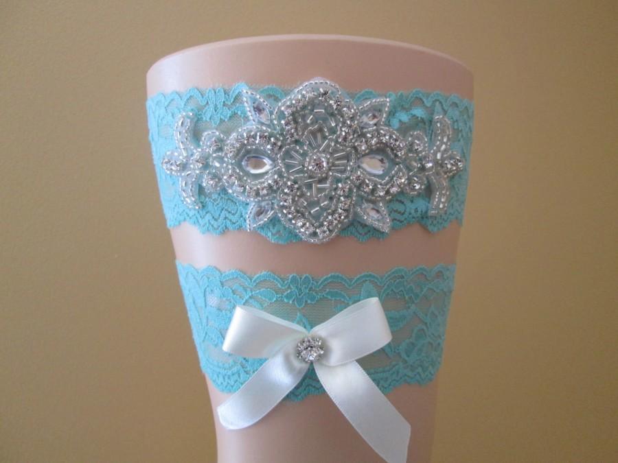 Свадьба - Aqua Blue Wedding Garter Set, Teal Bridal Garter, Something Blue, Crystal -Rhinestone Garters, Vintage- Rustic- Country Bride, Prom Garter
