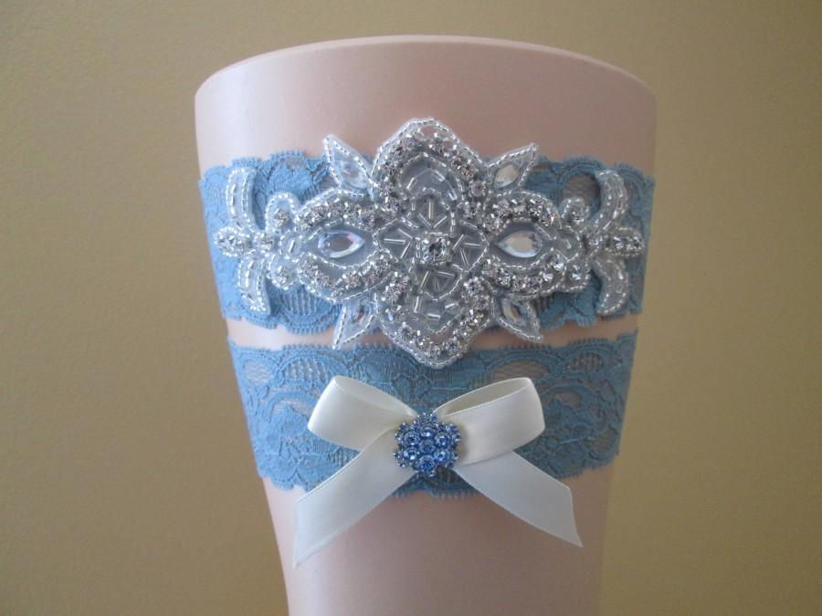 Mariage - Something Blue Wedding Garter Set, Dusty Blue Bridal Garter, Powder Blue Lace Garters w/ Bling, Slate Blue, Rustic- Vintage-Country Bride