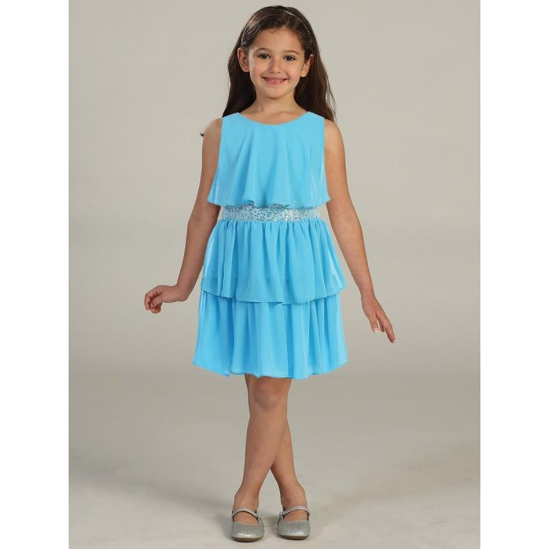 Свадьба - Turquoise Tiered Chiffon Dress w/ Sequins Belt Style: DSK401 - Charming Wedding Party Dresses