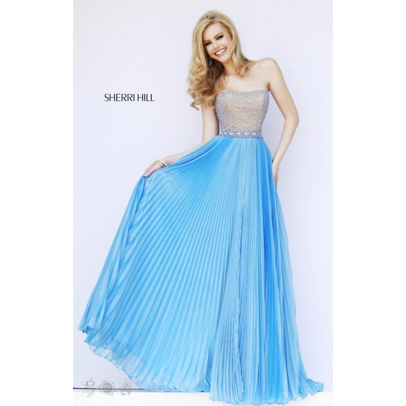 Blue Sherri Hill 32143 - Chiffon Pearls Dress - Customize Your Prom ...