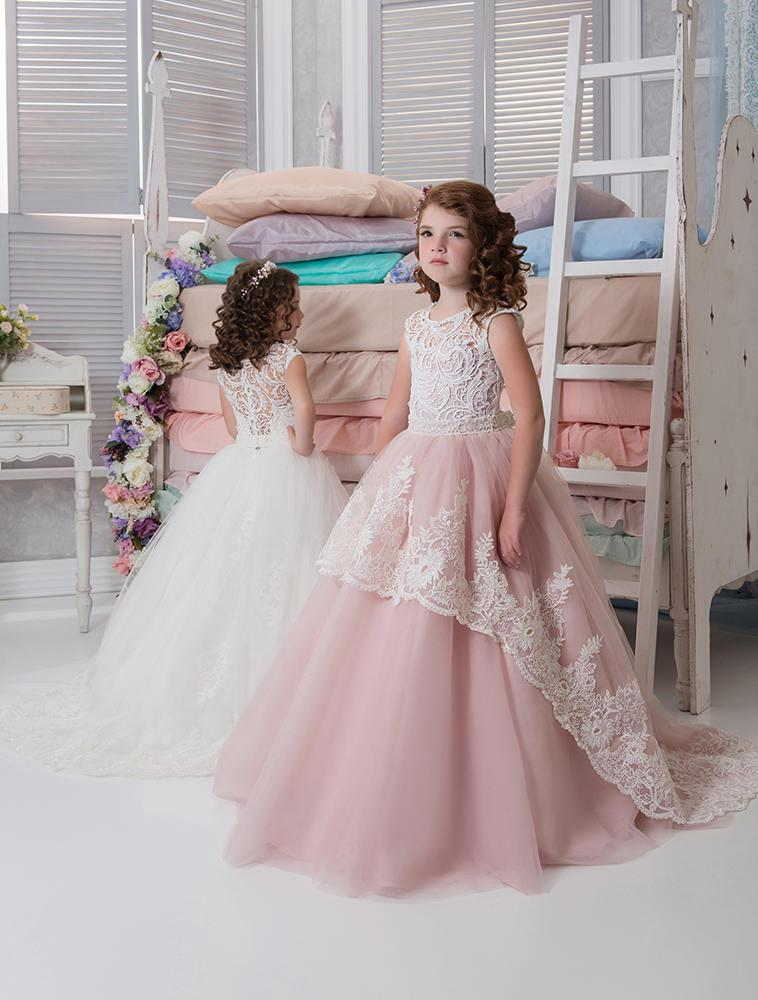 Mariage - Blush Flower Girl Dress • Ivory Flower Girl Dress • Blue Flower Girl Dress • Birthday • Girls party dresses • Princess Dress •Toddler dress