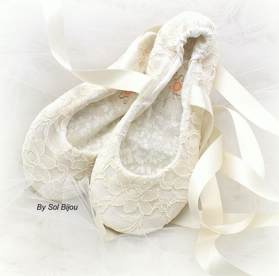 Wedding Flats Ivory Ballet Reception Lace Slippers Vintage Style Shoes First CommunionFlower Girl