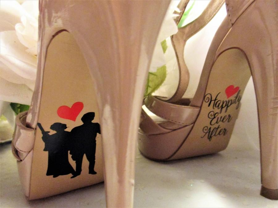Wedding - Star Wars inspired bride and groom shoe stickers, I love you I know engagement gift idea, leia and han high heel decals, Disney wedding shoe
