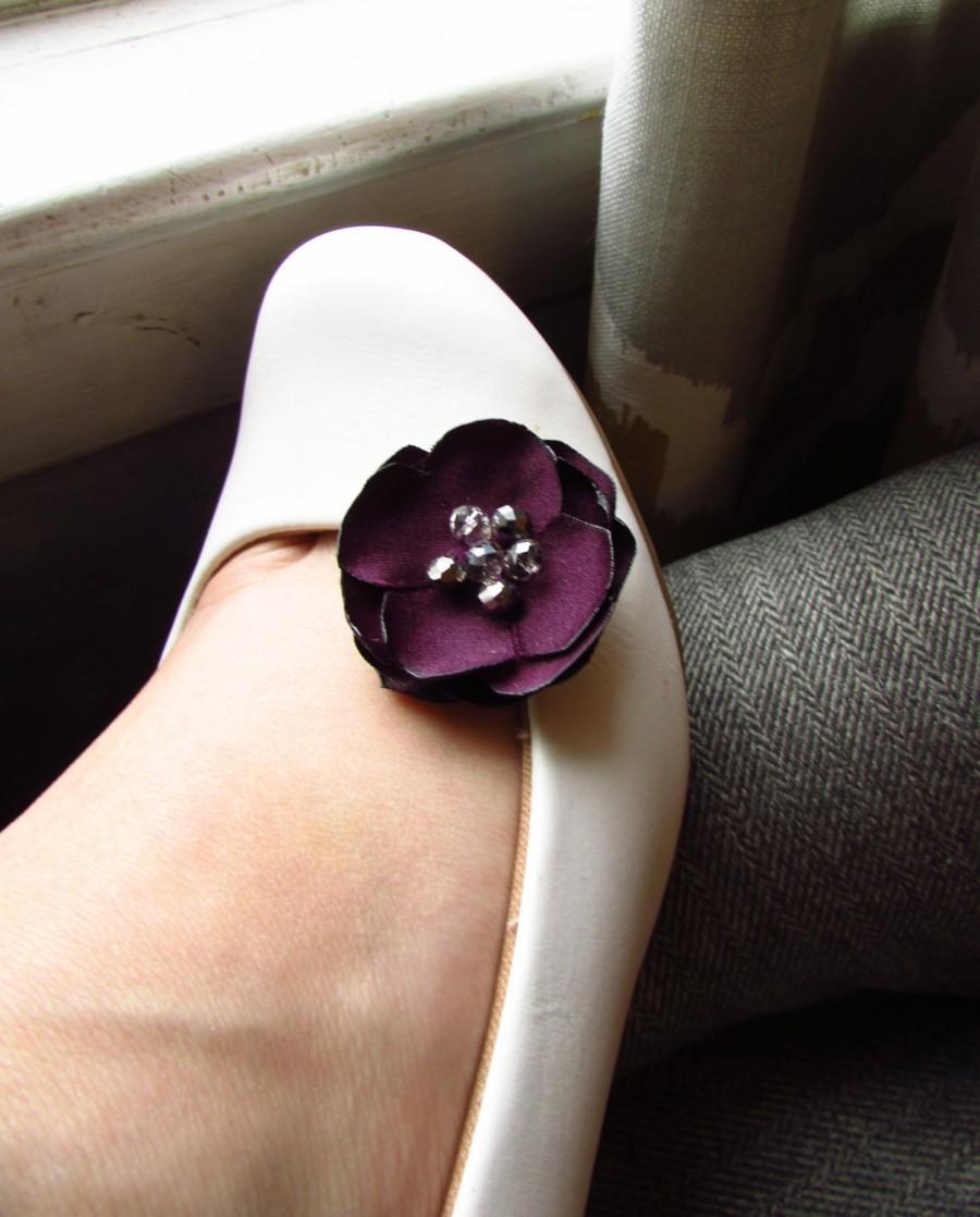 Purple eggplant wedding shoe clips plum bridesmaid shoe accessories purple eggplant wedding shoe clips plum bridesmaid shoe accessories silk floral bridal shoe decoration fabric flower shoe accessory junglespirit Choice Image