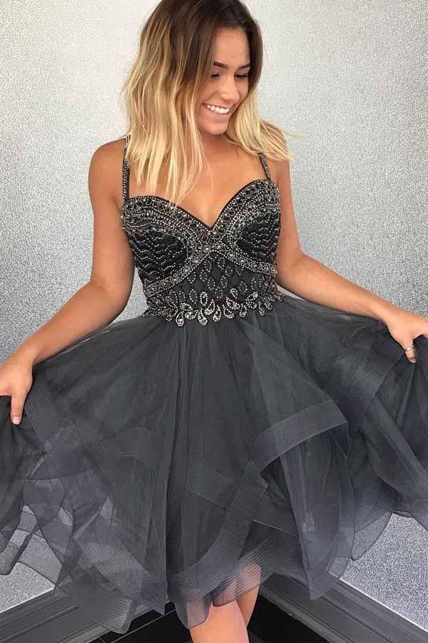 زفاف - Sparkly Beads Short Grey Tulle Homecoming Dress With Beading PG161