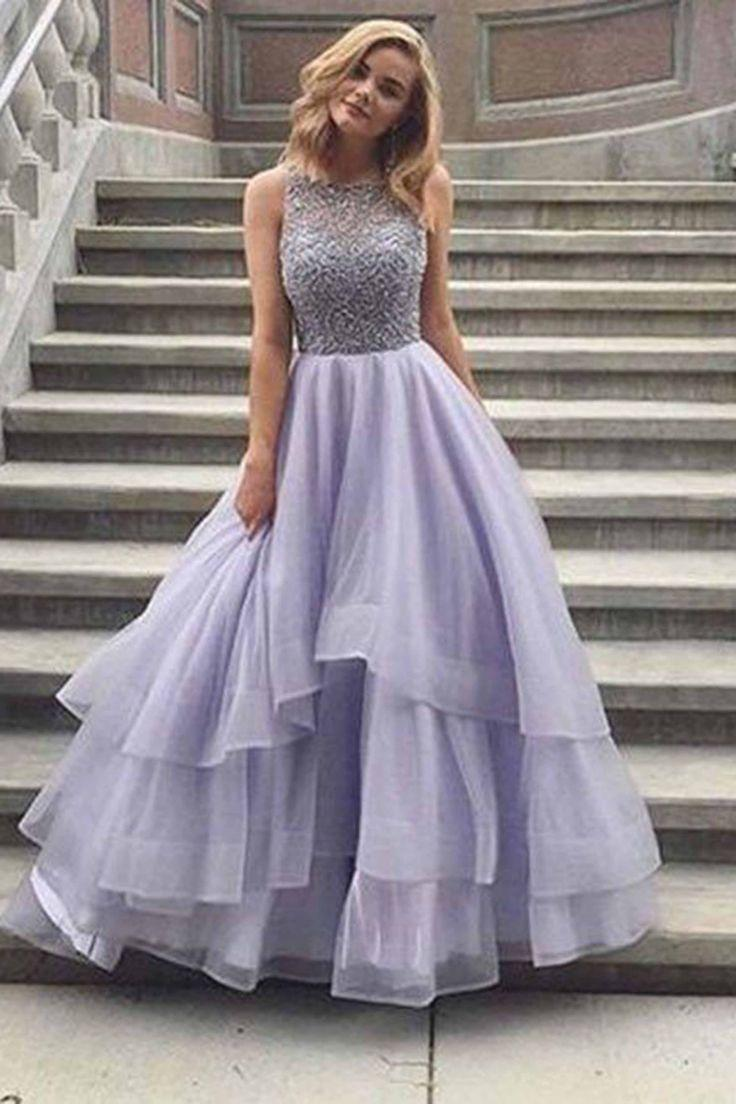 Mariage - Lavender Tulle Round Neck Lace A-line Long Prom Dresses From QPromdress