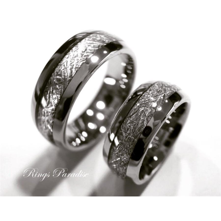 Matching Wedding Bands Meteorite Inlay Rings His And Her Engagement Ring Gift Promise Tungsten By Paradise
