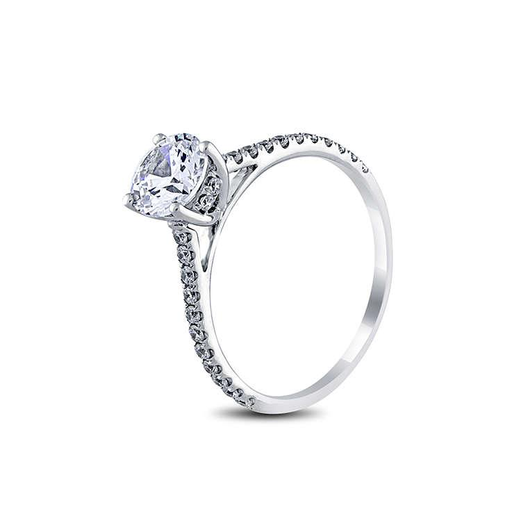Mariage - Sale!! - Simple, Classic Engagement Ring, 1/3cts diamonds F/VS-SI and with 6.5mm(1ct look) Diamond Stimulant as a center stone.