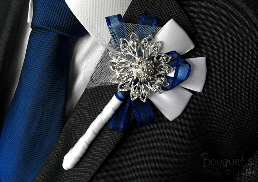 Wedding - Silver Buttonhole, Wedding Buttonhole, Boutonniere, Mens Wedding Boutonniere, Lapel Pin, Mens Lapel Pin, Silver Lapel Pin, Prom Lapel, Groom