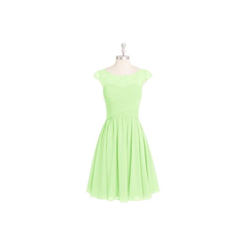Wedding - Sage Azazie Betty - Illusion Boatneck Knee Length Chiffon And Lace Dress - Charming Bridesmaids Store