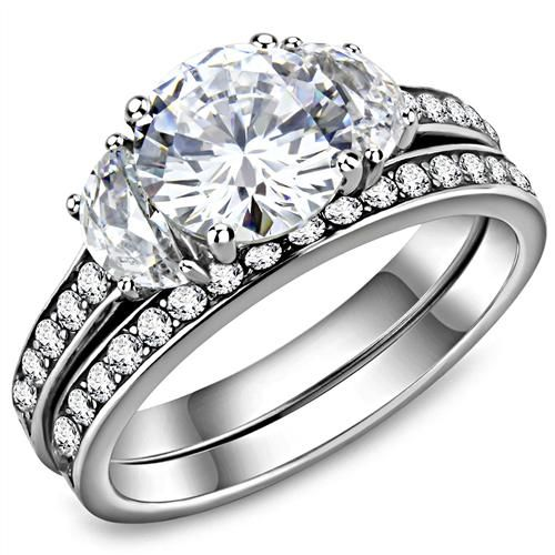 Wedding - The Grace, A 1.9CT Round Cut Russian Lab Diamond Bridal Set Ring